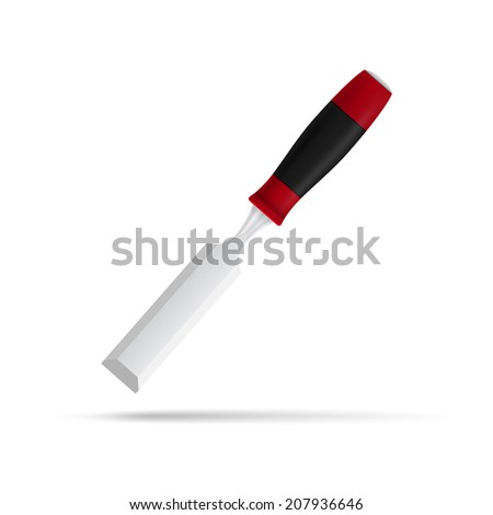 photorealistic picture of chisel isolated on white background - stock photo
