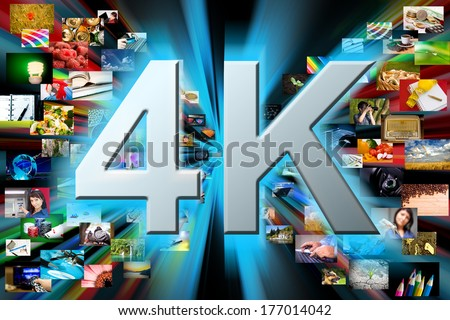 Photos are projecting black background. 4k resolution concept - stock photo