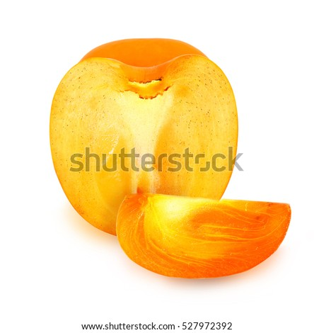 Photos bright persimmon and slice isolated on white background