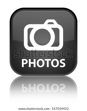 Photos glossy black reflected square button - stock photo