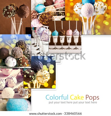 Photos of colorful cake pops. Photo collage