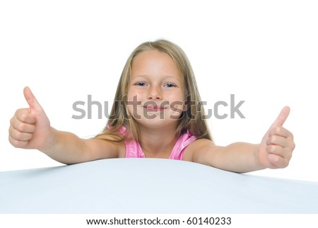 photos of girl with long hair, which shows the thumbs. Isolated on white. - stock photo