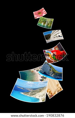 Photos of holiday isolated on black background. - stock photo