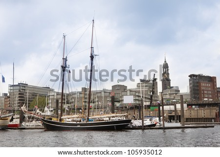 Photos of Old ship in Hamburg Port, Germany - stock photo