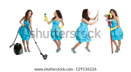 Photos of young cleaning woman with mop. Isolated on white background - stock photo