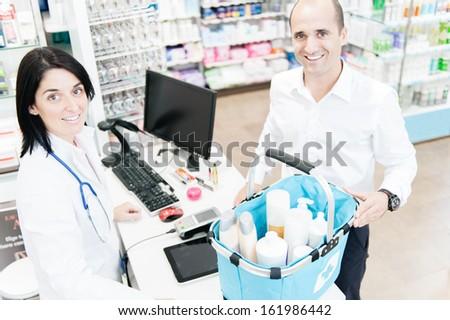 Photos taken on a real pharmacy. - stock photo