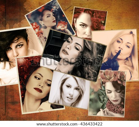 Photos  with beautiful young women - stock photo