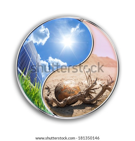 photovoltaic can save our planet - environment  concept Europe, elements of this image furnished by NASA   - stock photo