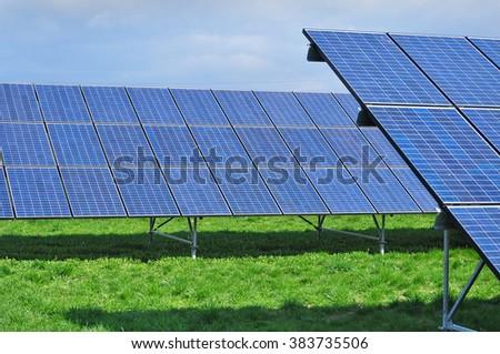 Photovoltaic collector solar panel power - stock photo