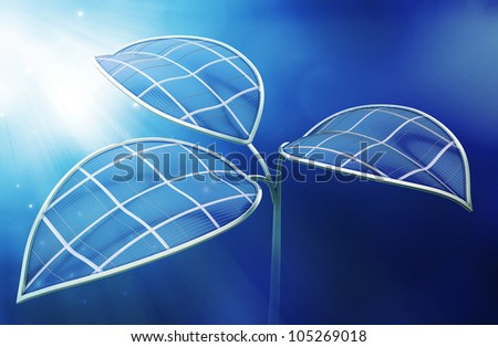 Photovoltaic leafs - Artificial photosynthesis concept illustration