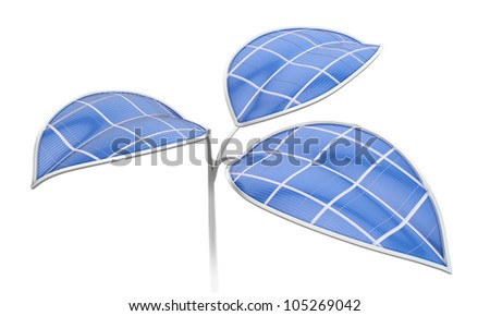 Photovoltaic leafs - Artificial photosynthesis concept illustration - stock photo