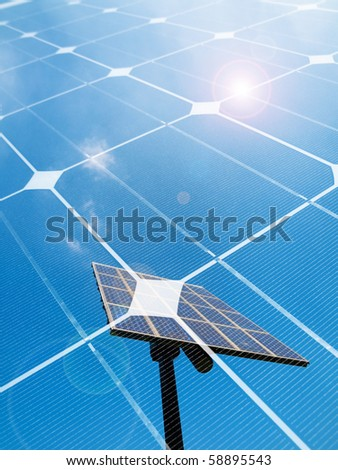 Photovoltaic panel against the sun montage - stock photo
