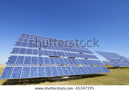 photovoltaic panel for renewable electric energy production - stock photo