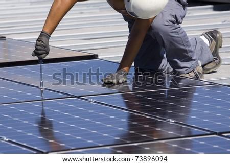 photovoltaic panels - stock photo