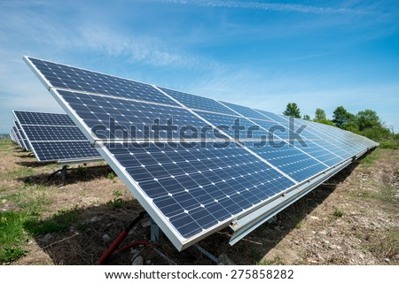 photovoltaic panels - alternative electricity source - stock photo