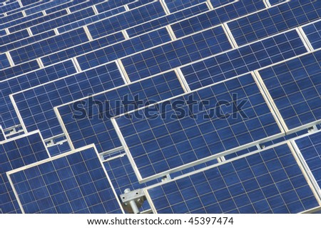 photovoltaic panels detail in blue color - stock photo