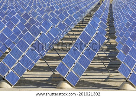 Photovoltaic panels for renewable electric production, Zaragoza province, Aragon, Spain. - stock photo