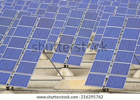 Photovoltaic panels for renewable electric production, Zaragoza province, Aragon, Spain. - stock photo