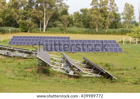 photovoltaic panels in green environment, trees and grass