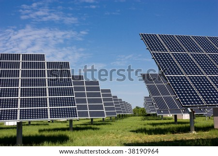 photovoltaic panels, solar panel to produce clean energy - sustainable, renewable, alternative source - stock photo