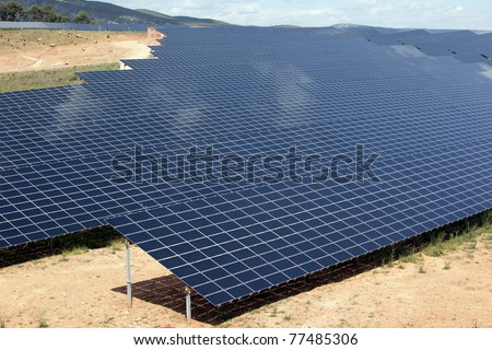 Photovoltaic power plant in Puyloubier, southern France - stock photo