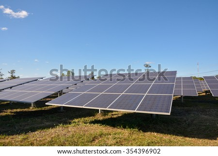Photovoltaic solar energy panels for renewable electric production with blue sky