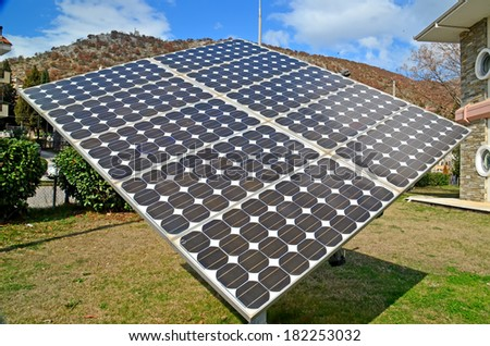photovoltaic system close up - stock photo