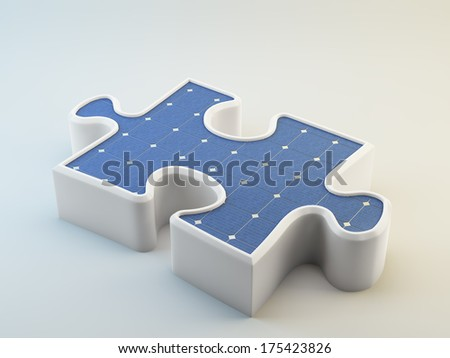 Photovoltaics panel shaped like a puzzle piece - eco friendly solution concept - stock photo