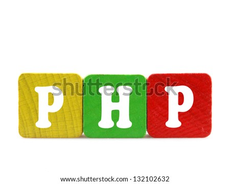 php  - isolated text in wooden building blocks - stock photo