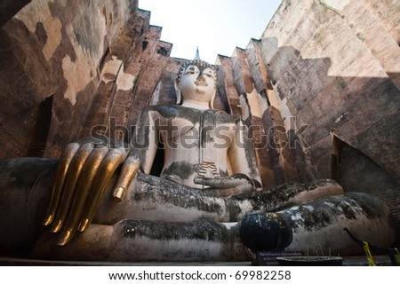 Phra Achana in Wat Si Chum at Sukhothai Historical park, Thailand, - stock photo