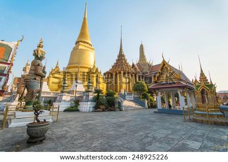 Phra Kaeo, Temple of the Emerald Buddha,Bangkok Thailand. - stock photo