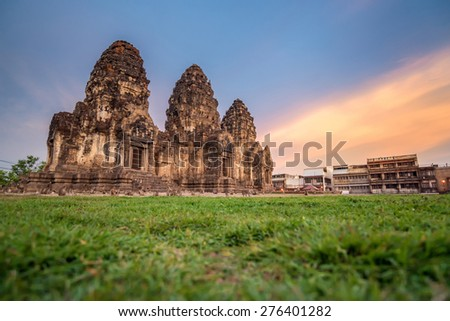 Phra Prang Sam Yod . Lopburi, Thailand. Religious buildings constructed by the ancient Khmer art.  - stock photo