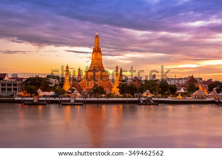 Phra Prang Wat Arun, The beautiful temple along the Chao Phraya river at twilight (Bangkok, Thailand) - stock photo