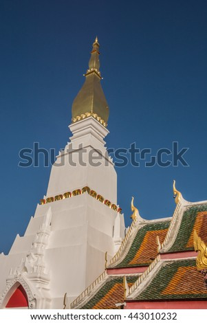 Phra That Choeng Chum is stupa of Buddhism at Wat Phra That Choeng Chum, decorate Thai style - stock photo