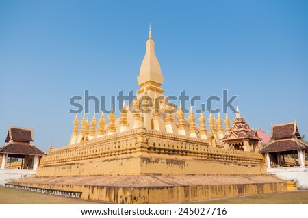 Phra That Luang at vientiane is very famous in Lao - stock photo