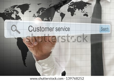 Phrase customer service written in search bar on virtual screen. - stock photo