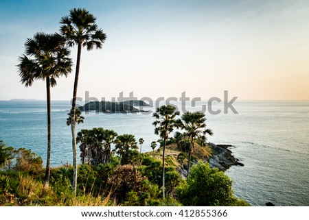 Phromthep Cape viewpoint at sunset, Phuket, Thailand.
