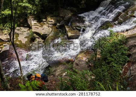 Phu Kradueng national park ,nature waterfall and tree green beautiful ,Thailand - stock photo
