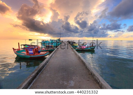 Phu Quoc island, Kien Giang province, Vietnam - May 03, 2016: Dawn at pier in fishing village - Phu Quoc island, Vietnam