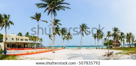 Phu Quoc Island, Kien Giang, Vietnam 11 March 2016: beautiful lanscapes of beach in a home stay in SAO Beach in Phu Quoc Island, foreign tourist