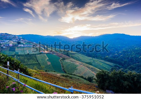 Phu Tab Berk hill landscape, Phetchabun province, Thailand, Village on hill, Sunset time, Unseen in Thailand. - stock photo