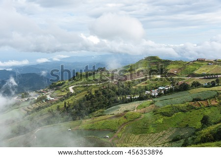 Phu Tab Berk hill landscape, Phetchabun province, Thailand, Village on hill,  Unseen in Thailand. - stock photo