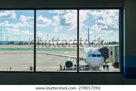 Phuket airport landing  - stock photo