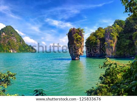 Phuket James Bond island Phang Nga - stock photo