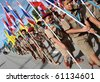 PHUKET - SEPTEMBER 16: Students during a parade marking the birthday of monk  Luang Pu Supha who is 114 on September 16, 2010 in Phuket, Thailand. Many Thais believe he is the world's oldest man. - stock photo