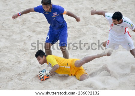 PHUKET THAI-NOV19:Goalkeeper Chukiat Chimwong of Thailand makes a save during the Beach Soccer match between Iran and Thailand the 2014 Asian Beach Games at Saphan Hin on November19,2014 in Thailand