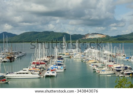 Phuket,Thailand - August 19 , 2014 : sailboats and yacht moored at Ao Po Grand Marina, Phuket, Thailand.