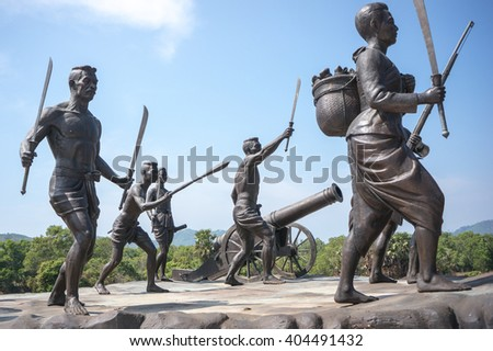 Phuket, Thailand - February 10, 2015: The memorial of Victory day against burmese invaders in Phuket, Thailand - stock photo