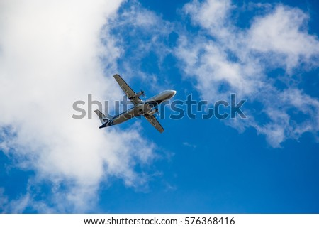 Phuket, Thailand - January 28,  2017: aircraft flying in the sky