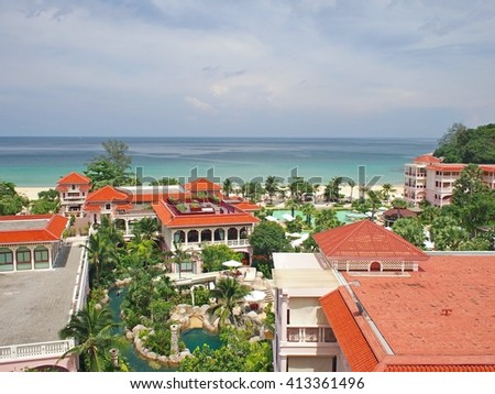 PHUKET, THAILAND - MAY 6, 2014: Centara Grand Beach Resort Phuket - view to sea and the hotels park